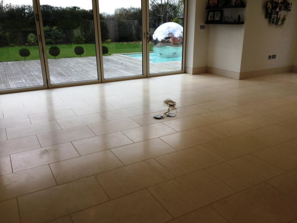 Limestone Tiled Lounge Floor After Cleaning Biddenham