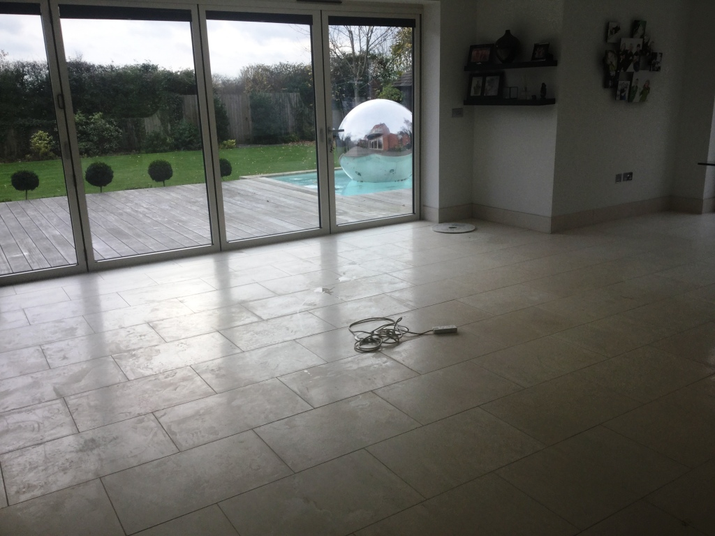 Limestone Tiled Lounge Floor Before Cleaning Biddenham