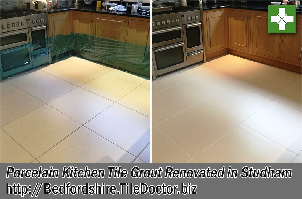 Kitchen Porcelain Tile Grout Before and After Renovation in Studham