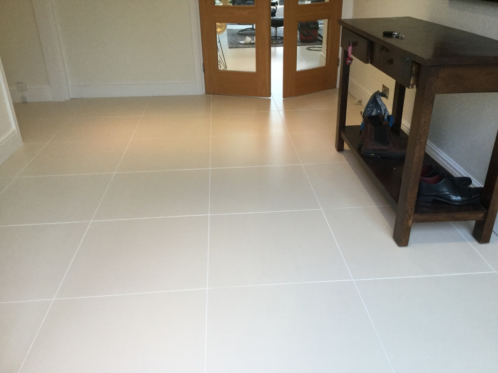 Porcelain Floor Tile Grout After cleaning and recolouring Studham