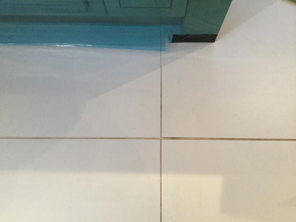 Porcelain Floor Tile Grout Before cleaning and recolouring Studham
