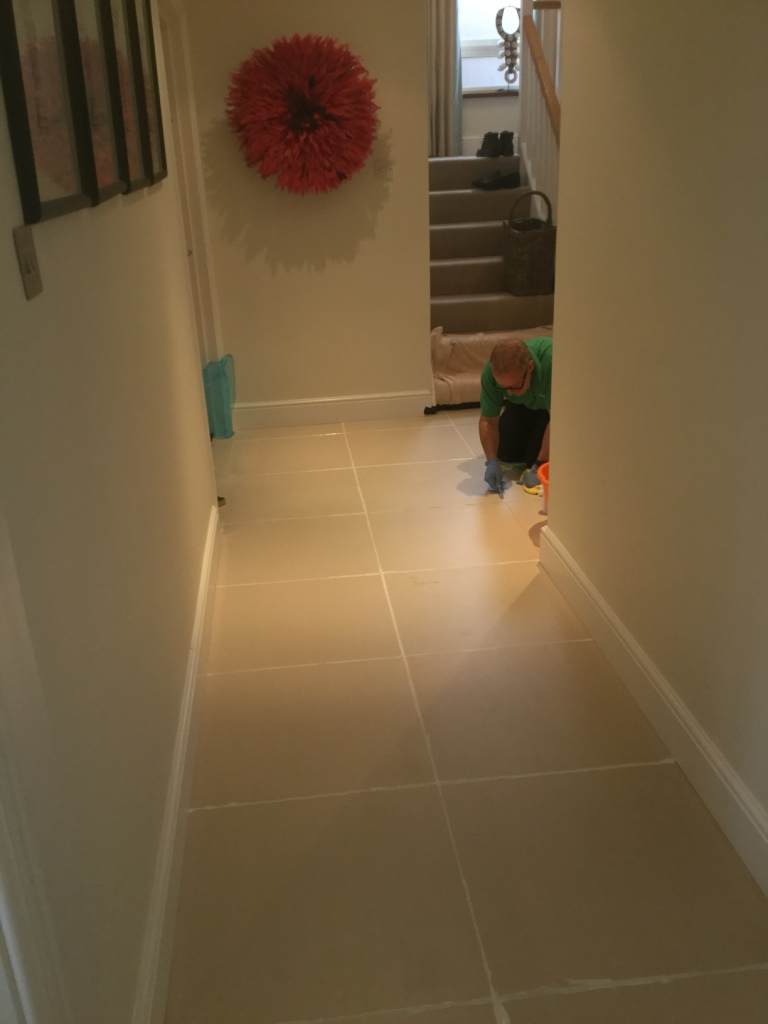 Porcelain Floor Tile Grout During cleaning and recolouring Studham