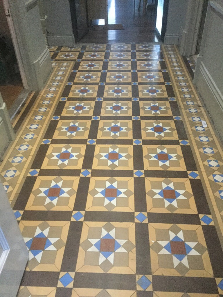 Victorian Tiled Floor Leighton Buzzard Before Cleaning