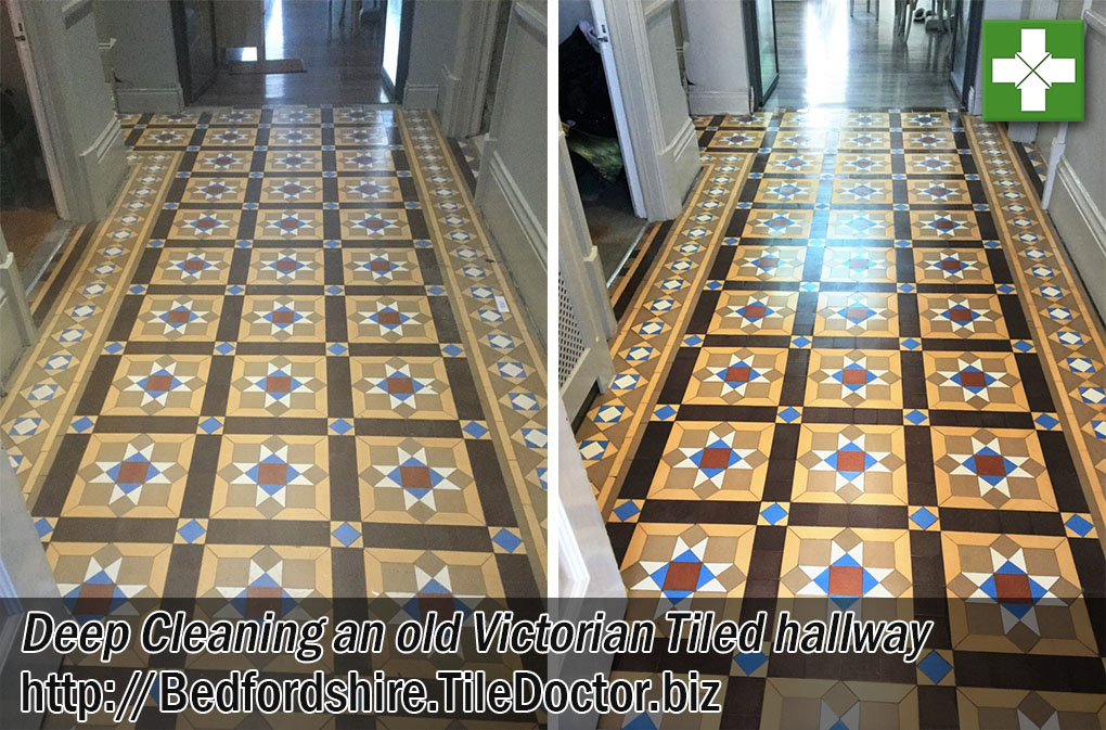 Victorian Tiled Hallway Before and After Cleaning Leighton Buzzard