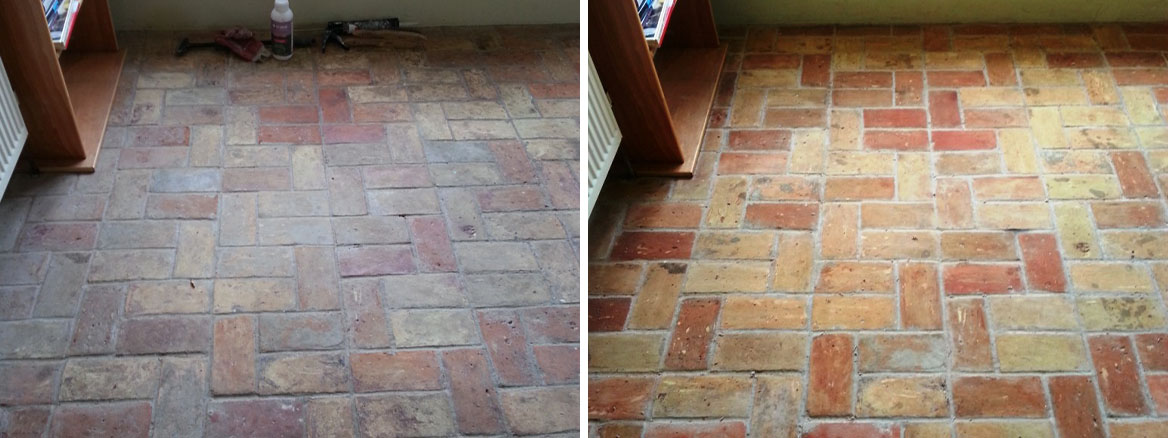 20 Year old hand made brick floor Before After Cleaning in Wrestlingworth