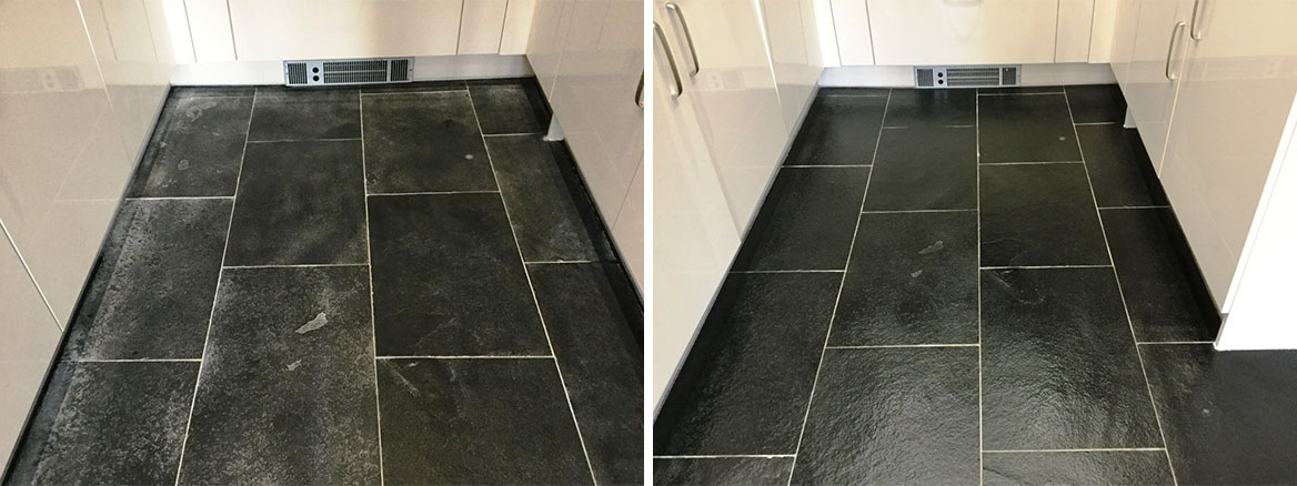 Dealing with Grout Haze on a New Black Limestone Floor in Wixams