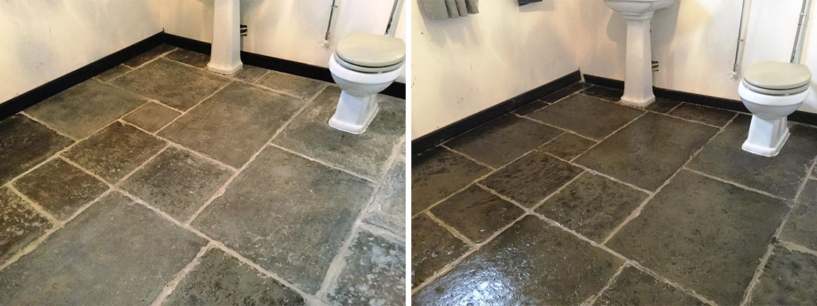 Flagstone WC Floor Installation Before After Cleaning Moggerhanger