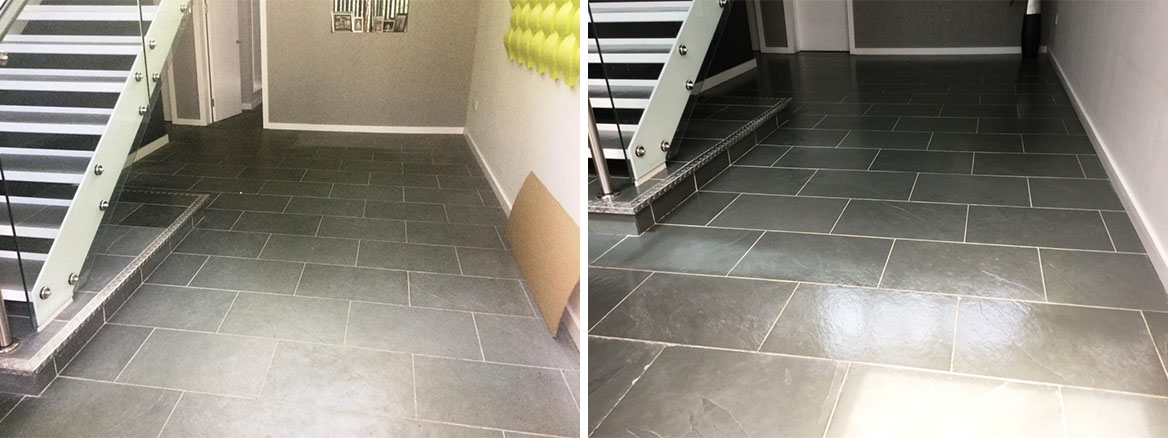 Large Grey Brazilian Slate Tiled Floor Rejuvenated in Studham