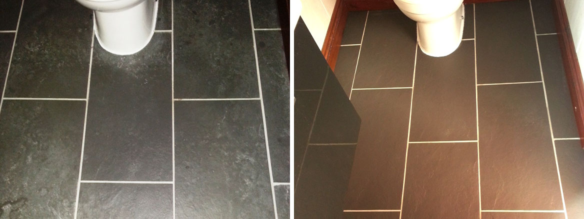 Limescale Treated on Slate Bathroom Tiles Ravenden Before After