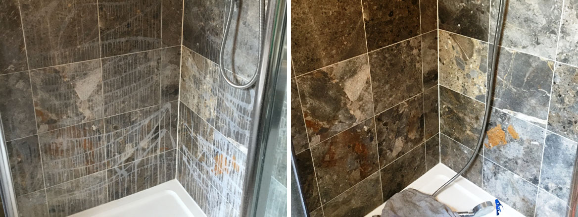Marble Shower Cubicle Before After Cleaning in Sharnbrook