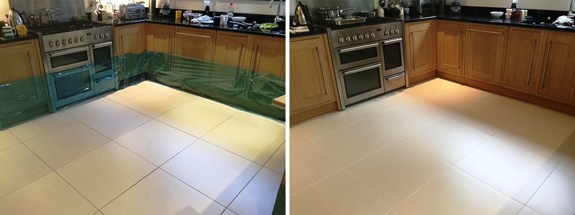Porcelain Floor Tile Grout Before After cleaning and recolouring Studham