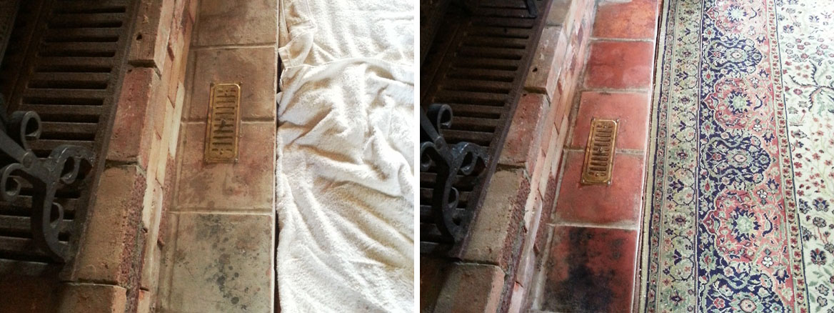 Quarry Tiled Fireplace before after cleaning and sealing Bedford