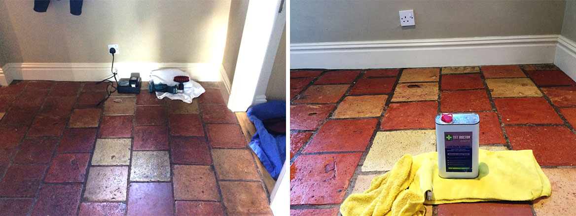 Quarry Tiles Before After Cleaning and Sealing Bedford
