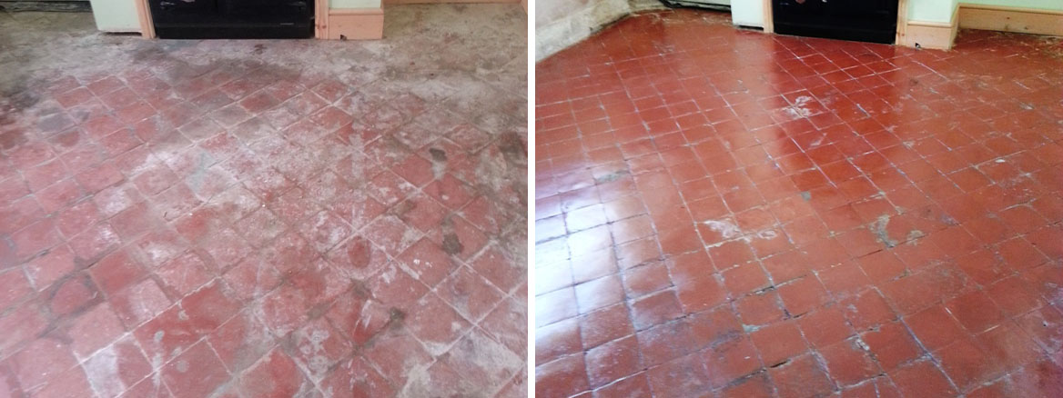 Quarry Tiles Before After Restoration in Langford