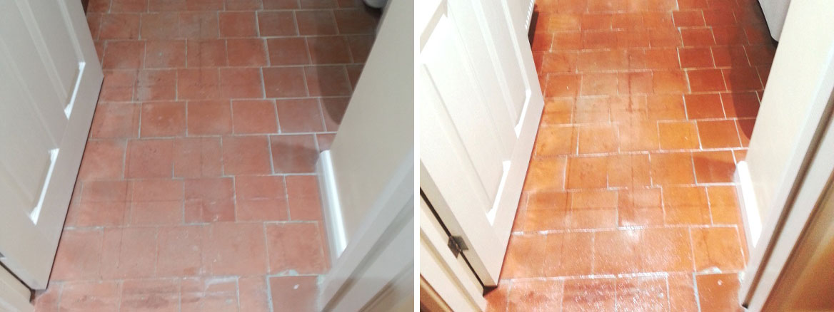 Quarry tiles in Cople Before After Cleaning