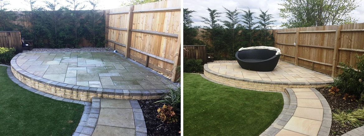 Sandstone Patio Bedford Before After Cleaning