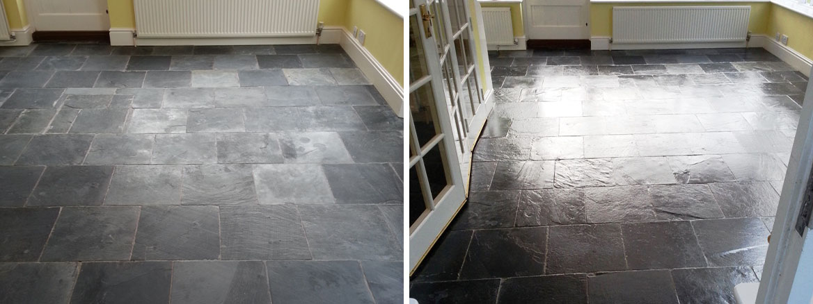 Slate Tiled Floor Bedford Before After Cleaning and sealing Bedford