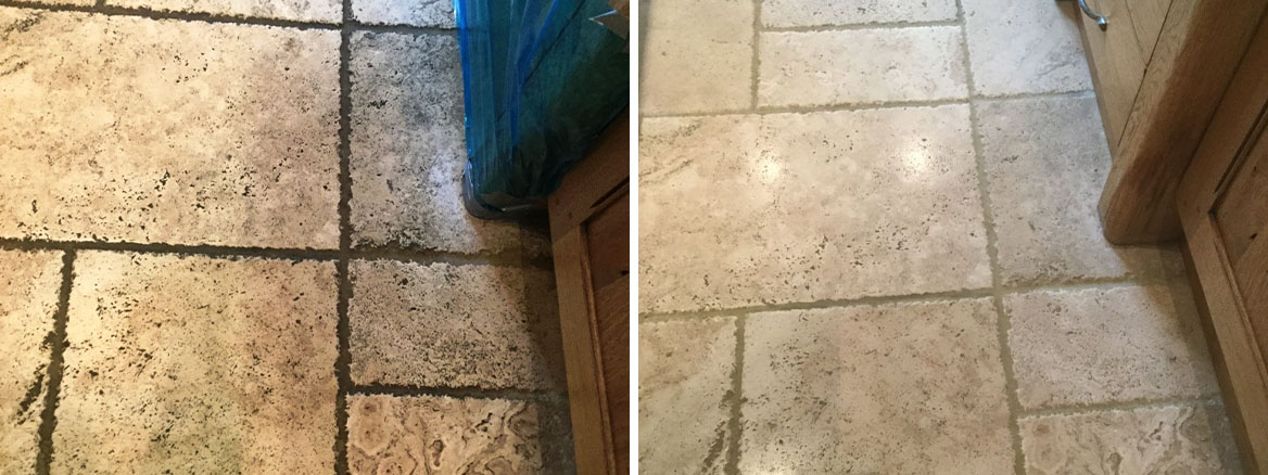 Tumbled Travertine Kitchen Floor Before After Cleaning Clophill Village
