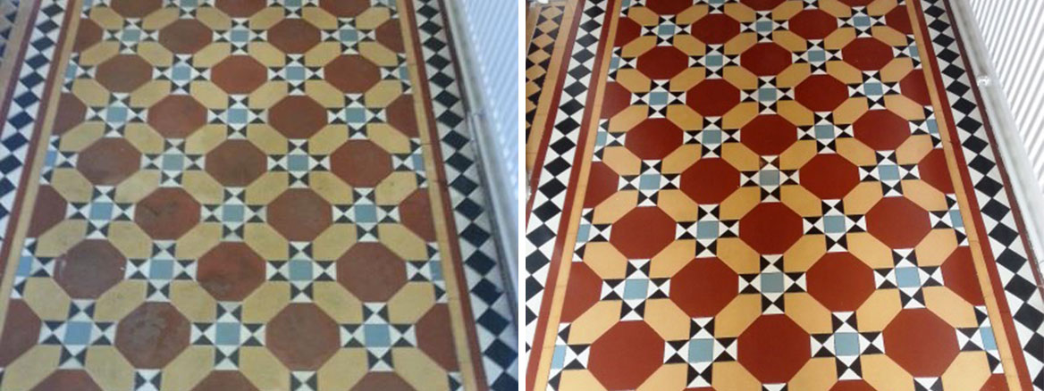 Victorian Tile Before After Cleaning and sealing Leighton Buzzard