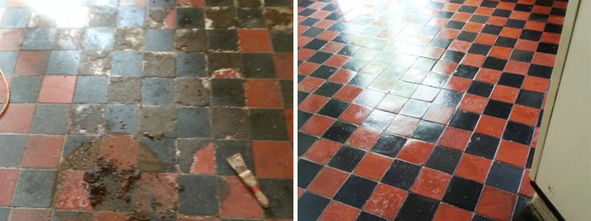 Victorian Tiled Floor Before After Restoration in Sharnbrook
