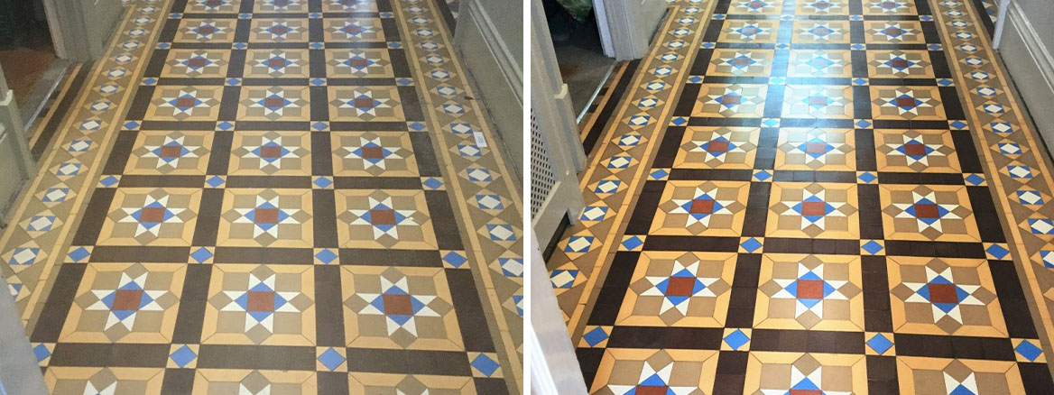 Victorian Tiled Floor Leighton Buzzard Before After Cleaning