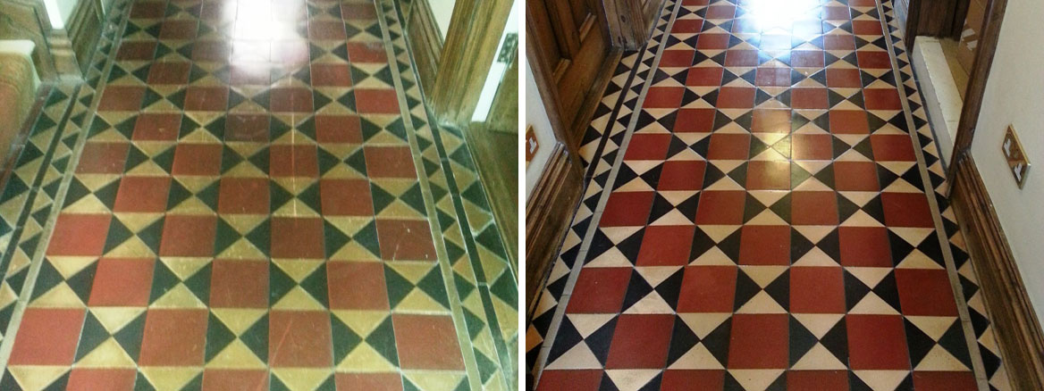 Victorian Tiles before after Cleaning in Bedford