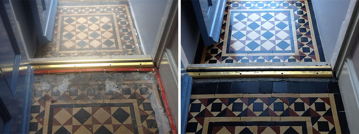 Victorian tiled floor Before After Cleaning Bedford